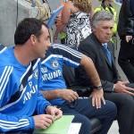 Carlo Ancelotti and the Chelsea bench