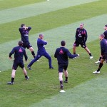 Everton warmup