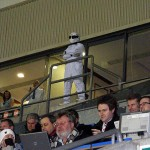 The Stig surveys the DW Stadium from the VIP boxes