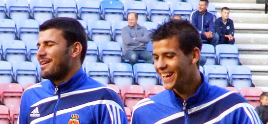 Real Zaragoza players havin' a laugh