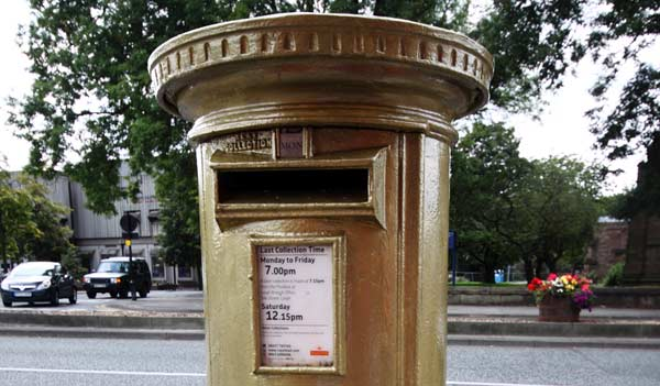 Golden postbox