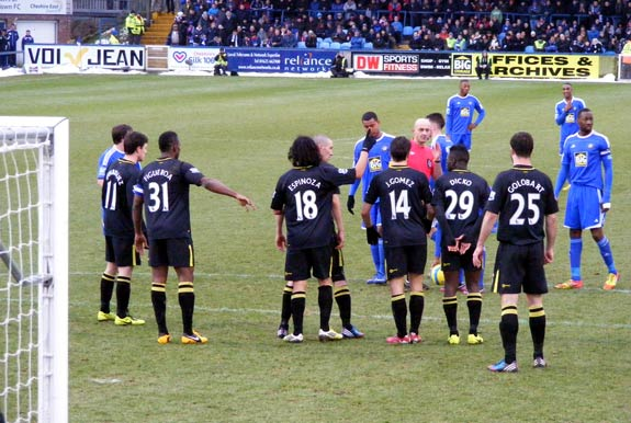 Latics line up their wall, Macclesfield v Wigan 26 Jan 2013