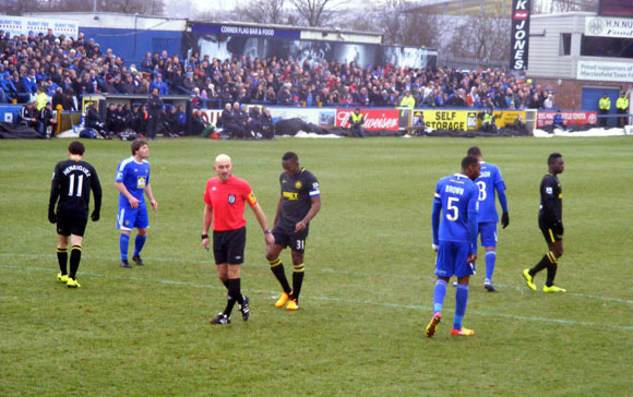 The ref awards a penalty, Macclesfield v Wigan 26 Jan 2013