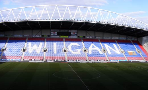 DW Stadium East Stand empty