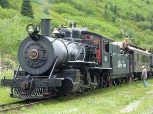 Steam train takes a leak