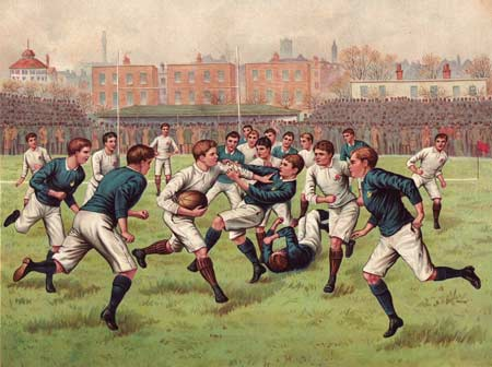 Does this image depict football or rugby? Vote now! (c)Chromolitho