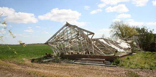 Destroyed greenhouse