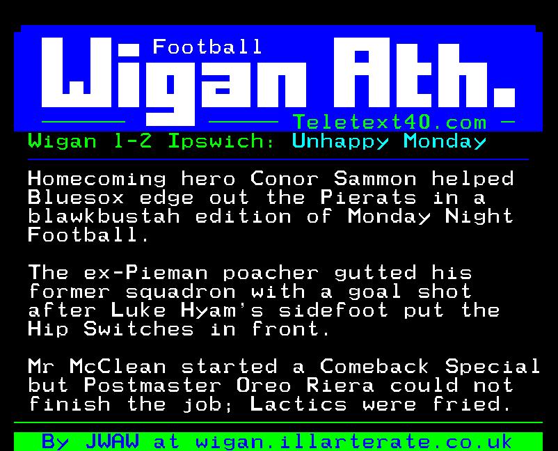 Wigan v Ipswich teletext report