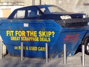 Car in skip