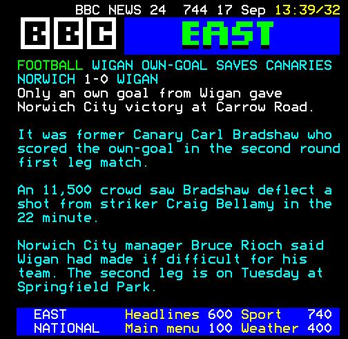 Wigan v Norwich, Ceefax, 1998
