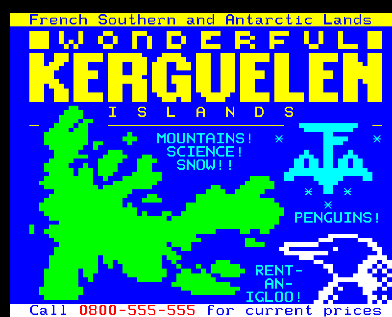 Kerguelen teletext holiday
