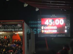 AFCB Cherry Chimes Bournemouth v Watford scoreboard