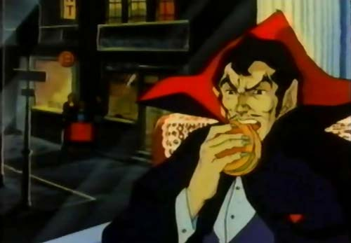 Dracula eating burger