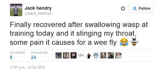 Hendry swallowed wasp