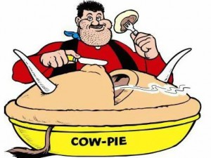 Desperate Dan eating his cow pie