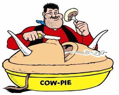 Desperate Dan eating his cow pie